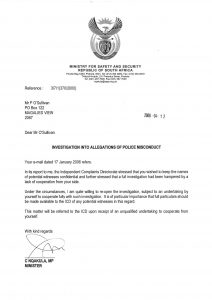 letter from Minister